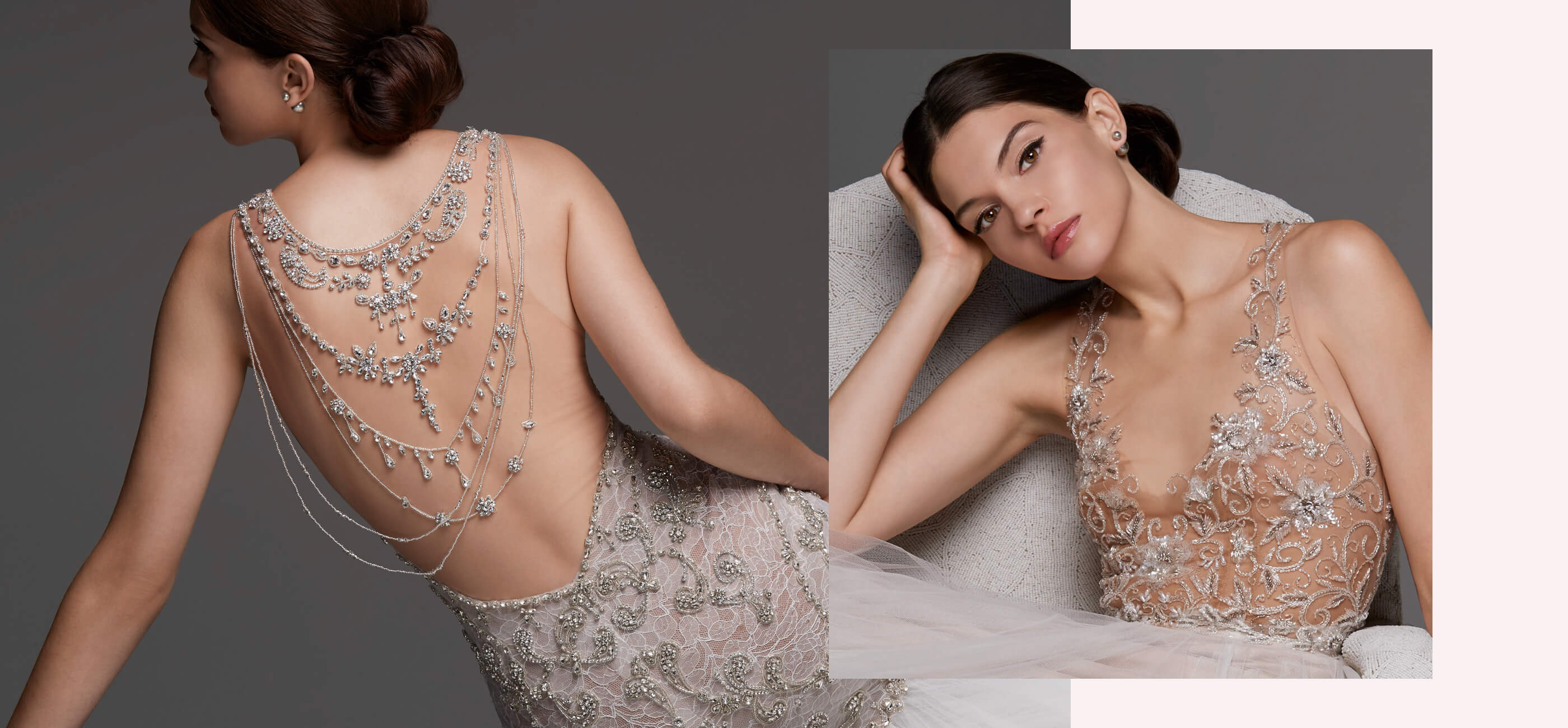 Model wearing a beaded detailed wedding gown displaying front and back of dress